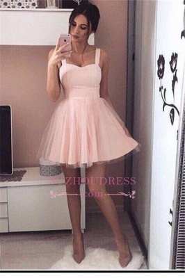 Simple Mini Straps  A-Line Tulle Pink Homecoming Dresses_2