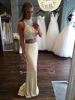 High Neck Two Piece Evening Dress Sheath Sleeveless Crystal Prom Dress_3