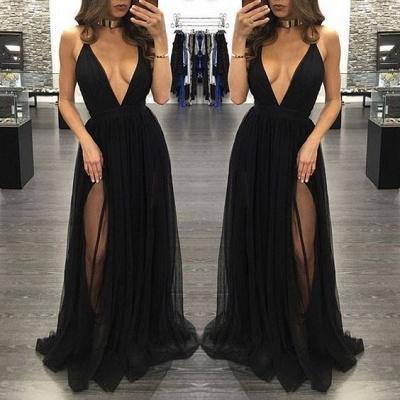 Sexy Sleeveless Tulle Backless Black V-Neck Side-Slit Prom Dress BA4672_3