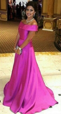 Simple Fuchsia Off the Shoulder Prom Dress New Arrival Sweep Train Formal Occasion Dress_1