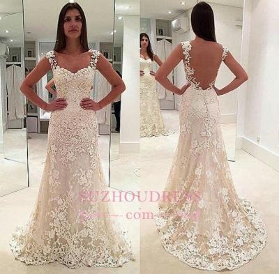 Elegant Sleeveless Backless Bride Dress  Straps Lace Champagne Wedding Dresses_1