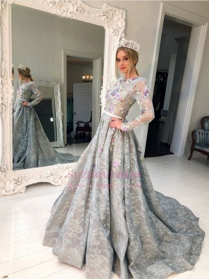 Silver Long Sleeve A-Line Lace Evening Gowns | See Through Sweep Train Prom Dress_3