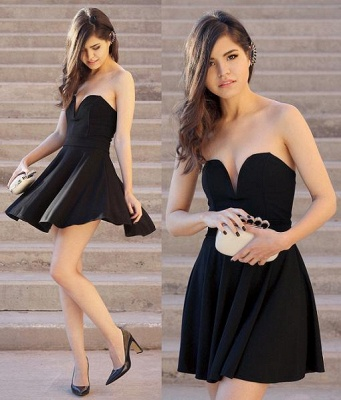 Black Sweetheart Mini Homecoming Dresses Hot A-Line Short Cocktail Gowns_3