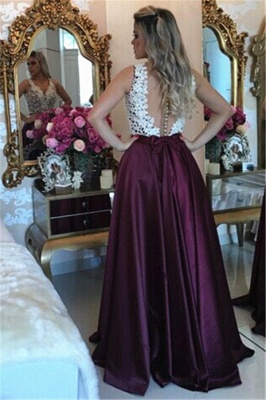 Burgundy Sleeveless Long Evening Dresses Online Lace Prom Dress Cheap with Beads BMT203 BA3697_4
