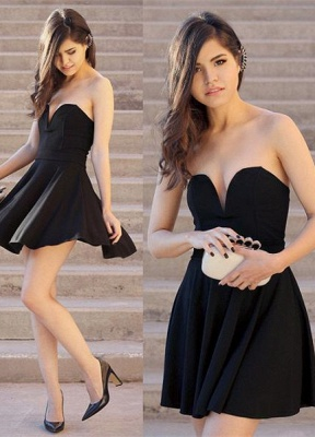 Black Sweetheart Mini Homecoming Dresses Hot A-Line Short Cocktail Gowns_1