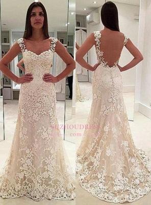 Elegant Sleeveless Backless Bride Dress  Straps Lace Champagne Wedding Dresses_2