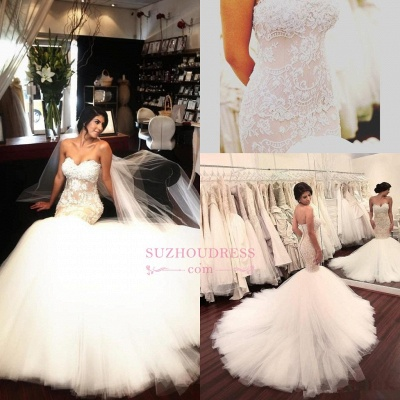 Delicate Sleeveless Mermaid Lace Appliques Bridal Dress  Sweetheart Tulle Wedding Dress_5