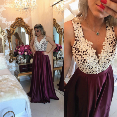 Burgundy Sleeveless Long Evening Dresses Online Lace Prom Dress  with Beads BMT203 BA3697_3