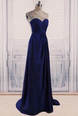 Royal Blue Chiffon  Long Evening Dresses Shiny Crystal Sheer Back Popular Prom Dresses_1