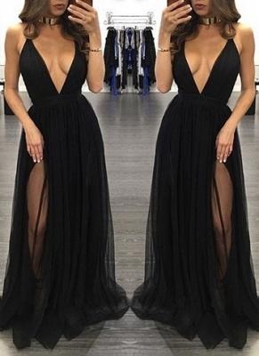 Sexy Sleeveless Tulle Backless Black V-Neck Side-Slit Prom Dress BA4672_1