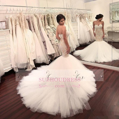 Delicate Sleeveless Mermaid Lace Appliques Bridal Dress  Sweetheart Tulle Wedding Dress_3