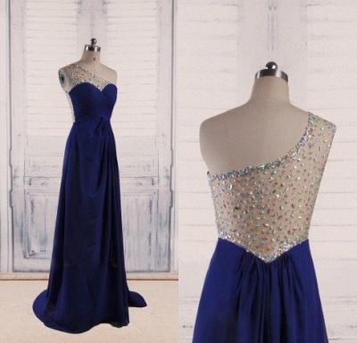 Royal Blue Chiffon  Long Evening Dresses Shiny Crystal Sheer Back Popular Prom Dresses_3