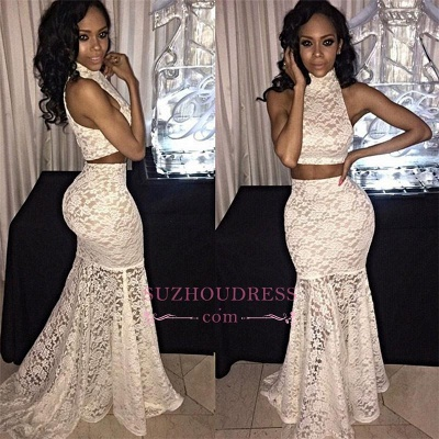 Mermaid Sleeveless Lace Sexy Sweep-Train Two-Piece High-Neck Prom Dress_1