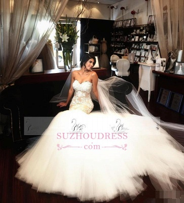 Delicate Sleeveless Mermaid Lace Appliques Bridal Dress  Sweetheart Tulle Wedding Dress_1