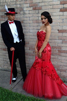 Glamorous Beadings Appliquues Mermaid Evening Gowns Sweetheart Red  Prom Dress_3