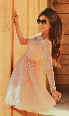 Cute Pink V-Neck Long Sleeve Homecoming Dress Latest A-Line Lace Knee Length Coctail Dresses BA7066_2