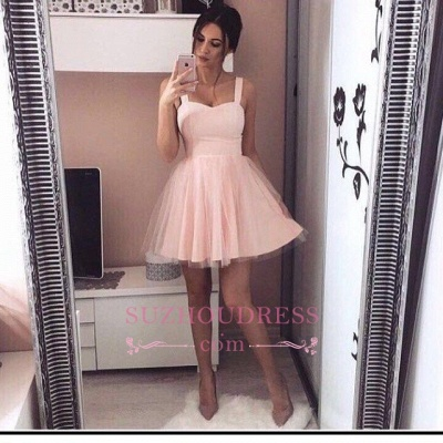 Simple Mini Straps  A-Line Tulle Pink Homecoming Dresses_1