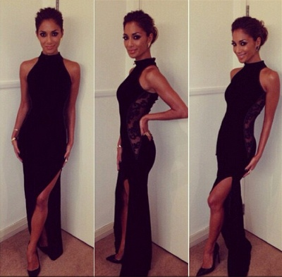 High Collar Black Halter Lace Formal Occasion Dress Sexy Floor Length Side Slit Evening Dress_2