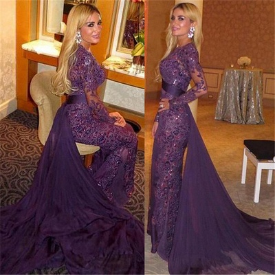 Long Sleeve Lace Appliques Evening Dresses Gorgeous Sheath Prom Dress  with Long Train_3