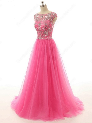 Elegant Crystal Tulle  Prom Dresses A-Line Beading Sweep Train Evening Gowns_4