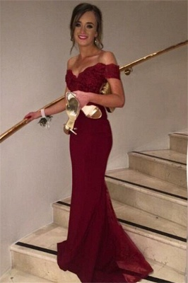 Burgundy  Off Shoulder Mermaid Evening Gowns New Arrival Lace Sweep Train Formal Prom Dress JT080_4