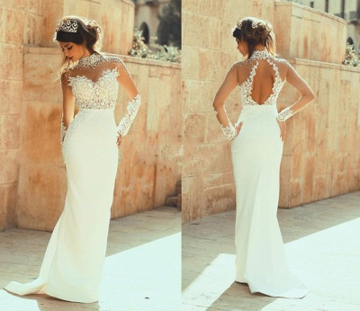 High Collar Beadings Long Sleeve White Bridal Gowns Crystal Lace Floor Length Wedding Dresses_2
