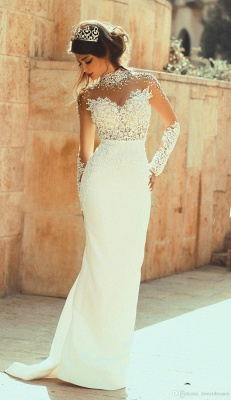 High Collar Beadings Long Sleeve White Bridal Gowns Crystal Lace Floor Length Wedding Dresses_1