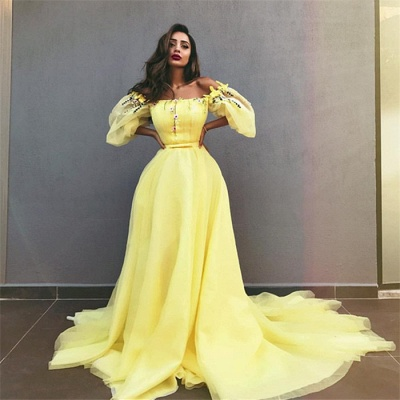 Yellow Off the Shoulder Half Sleeves Evening Dresses |  A-line Crystal Formal Dresses_3