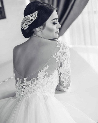 White Lace-Appliques Wedding Dresses |  Open-Back Long-Sleeves Bridal Gowns_4