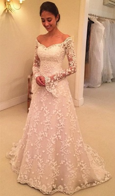 Off The Shoulder Lace Wedding Dresses with Sleeves | Bell Sleeve Elegant  Bride Dress_1