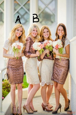 Popular Stitching Bridesmaid Dresses with Lace Sequined for Wedding and Prom_1
