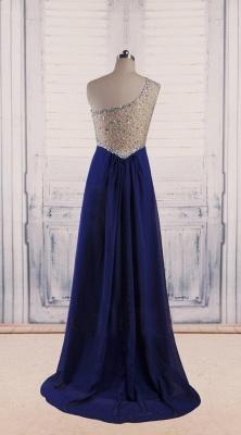 Royal Blue Chiffon  Long Evening Dresses Shiny Crystal Sheer Back Popular Prom Dresses_2