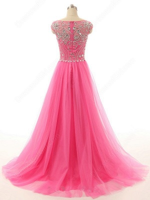 Elegant Crystal Tulle  Prom Dresses A-Line Beading Sweep Train Evening Gowns_3