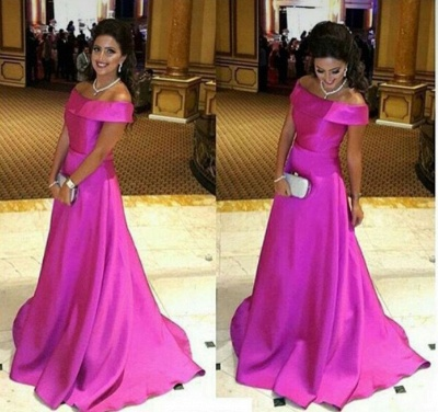 Simple Fuchsia Off the Shoulder Prom Dress New Arrival Sweep Train Formal Occasion Dress_3