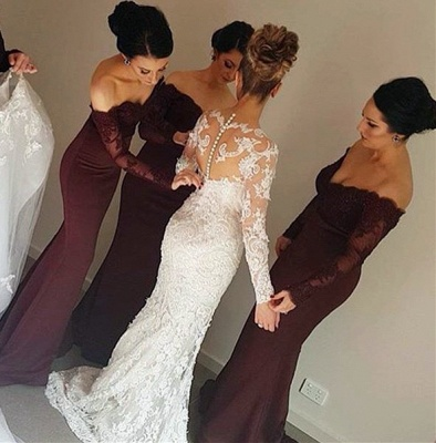 Lace Appliques Long Sleeve  Evening Dress Mermaid Beads Off-the-shoulder Bridesmaid Dress  BA3704_4