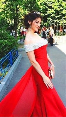 Elegant Off The Shoulder Prom Dress Chiffon Court Train Sheath Evening Gown_1