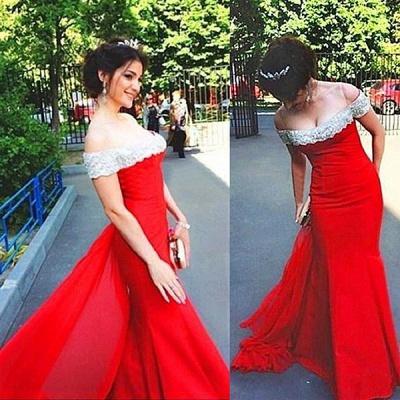 Elegant Off The Shoulder Prom Dress Chiffon Court Train Sheath Evening Gown_3
