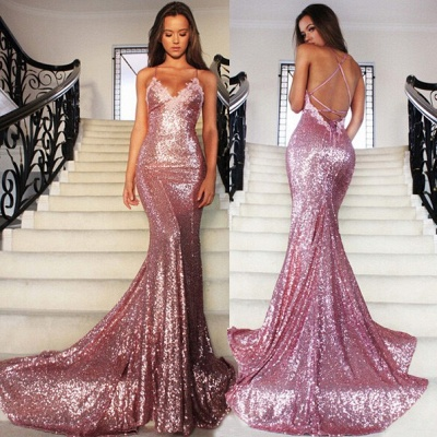 Rose Pink Mermaid Sequins Party Dresses Spaghetti Strap Long Evening Gowns AE0124_3