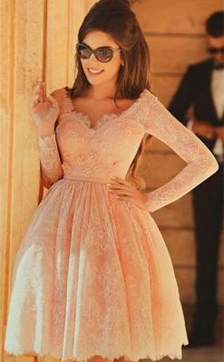 Cute Pink V-Neck Long Sleeve Homecoming Dress Latest A-Line Lace Knee Length Coctail Dresses BA7066_1