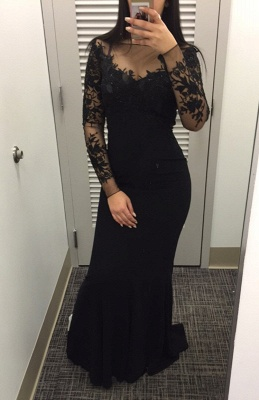 Mermaid Black Long Sleeve Party Gowns Sexy Lace Applique Long Wvening Gowns_1