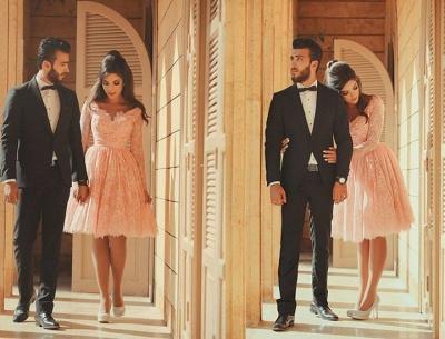 Cute Pink V-Neck Long Sleeve Homecoming Dress Latest A-Line Lace Knee Length Coctail Dresses BA7066_5