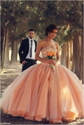 Pink Tulle Ball Gown Wedding Dresses  Sweetheart Vestidos De Novia Bridal Gowns With Rhinestones_1