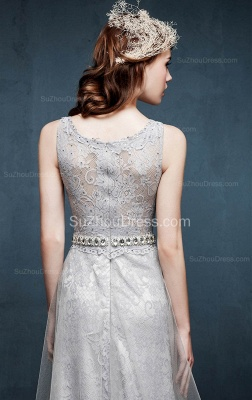 Beautiful Crystal Lace Long Prom Dresses with Beadings Tulle Custom Made Silver Grey Dresses for Juniors_4