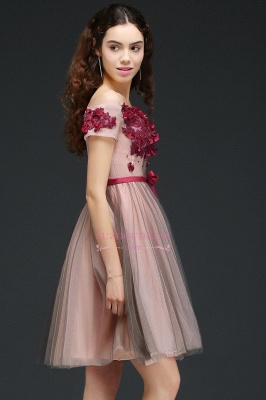 Short-Sleeves Off-the-Shoulder Burgundy-Flowers Knee-Length Homecoming Dresses_3