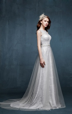Beautiful Crystal Lace Long Prom Dresses with Beadings Tulle Custom Made Silver Grey Dresses for Juniors_1