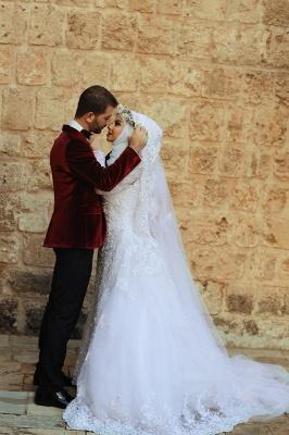 Latest White Lace Long Sleeve Arabic Bridal Dresses Formal Sweep Train Arab Wedding Dress_2