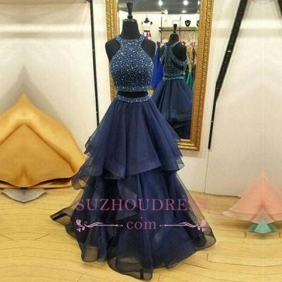 Crystals Ruffles Zipper Sleeveless Formal Dress  Jewel Modest Two Piece Prom Dress BA7248_1