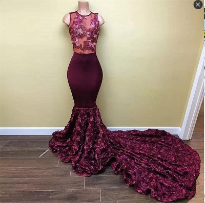 New Arrival Mermaid Burgundy Prom Dresses  Sleeveless Appliques Evening Gowns BA8008_3