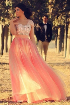 Cute Pink Crystal Short Sleeve Prom Dress New ArrivaL Tulle Long Evening Dress for Women_1