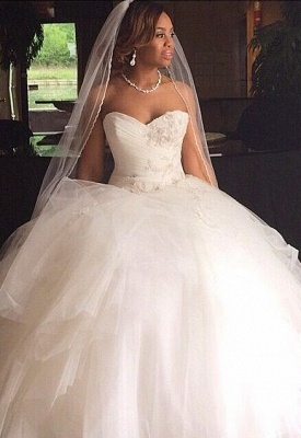 Sweetheart Puffy Tulle Princess Bridal Gown Appliques Gorgeous  Wedding Dresses_2